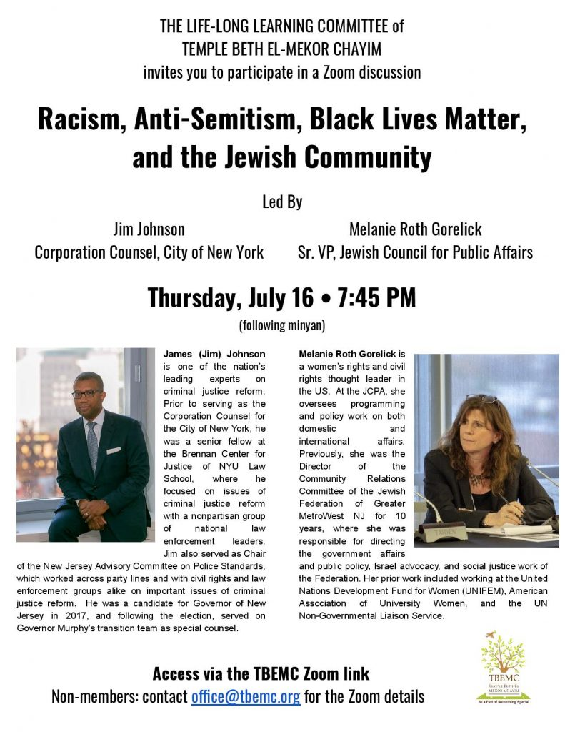 "Poster for discussion on ""Racism, Anti-Semitism, Black Lives Matter, and the Jewish Community"""